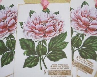 Shabby Pink Flower Gift Tags