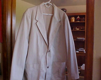 Eddie  Bauer Outdoor Outfitter Sport Jacket/Blazer Light Tan 100% Cotton Shell w/Nylon Linning  Size XL