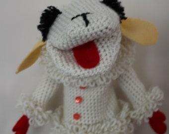 Côtelette d'agneau marionnette, nouvelle, agneau marionnette à main, cadeau d'anniversaire, au crochet jouet, cadeau de nostalgie, Shari Lewis Lambchop marionnette, également en rose