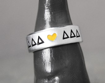 Delta Delta Delta Ring, Sorority Ring, Delta Delta Delta Jewelry, Hand Stamped Ring, Personal Sorority