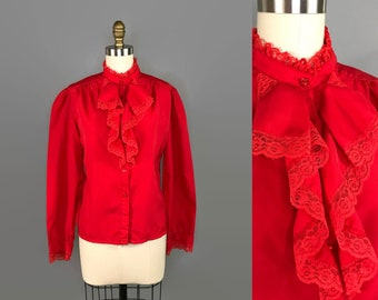 1980s Red Ruffle Blouse / 80s Lolita Ruffle Front Button Up / Vintage Puff Sleeve Top