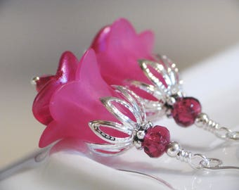 Hot Pink Lucite Flower Earrings in Silver