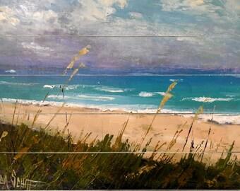 Beach scene on wood wall decor, Beach scene giclee print, Print on Wood, Free Shipping, Choose your Size, No Frame Needed