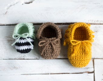 PDF Crochet Pattern for Baby Moccasins
