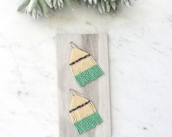 T R A I N . I N . T H E . D E S E R T // Beaded Fringe Earrings, Southwestern Style, Turquoise Earrings