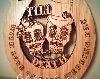 Sugar skull/ day of the dead wedding horse shoe
