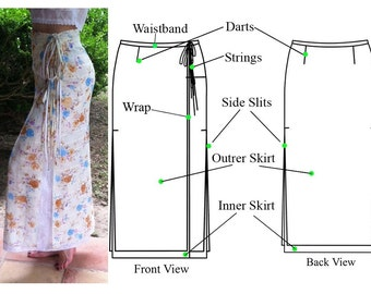 Double Wrap Straight Maxi Skirt with two side slits and tie strings-PDF sewing pattern-Women's sewing pattern. Sizes 8,10,12,14.