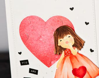 Hand Stamped, Hand Colored, You Are My Favorite Valentines Day, Greeting Card, No-Line Coloring, Blowing Kisses