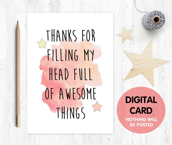 PRINTABLE teacher card, thanks teacher card, thank you teacher, teacher appreciation card, teaching assistant card, childminder
