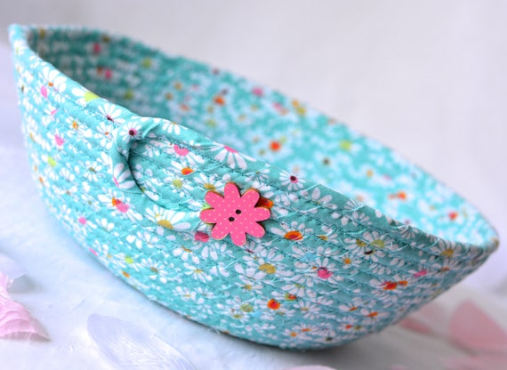 Spring Floral Basket, Handmade Designer Basket, Hostess Gift, Unique Teal Basket, Artisan Coiled Fabric Basket, Bathroom Decoration