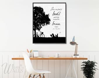 LOUISA MAY ALCOTT Quote, Louisa May Alcott Book, She Is Too Fond Of Books, Little Women Quotes, Little Women Book, Girl's Room Decor
