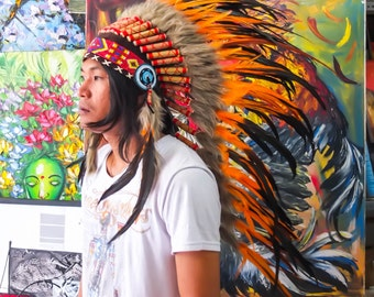 The Original - Real Feather Orange Chief Indian Headdress Replica 100cm, Native American Style Costume Hand Made War Bonnet Hat