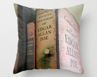 Pink Poe Pillow - INSERT INCLUDED: home decor, bedding, Edgar Allan Poe, vintage books, library, pink, gray, couch pillow, gothic