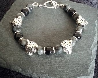 Silver Leopard Black & Grey Gemstone Bracelet