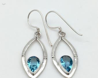 Sterling Silver Blue Topaz  Dangle Earrings