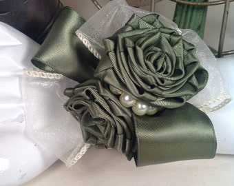 Green Satin Rose and Pearl Wrist Corsage perfect for the Mother Of The Bride