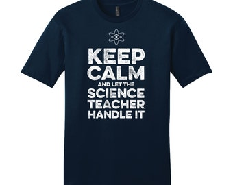 Keep Calm Science Teacher TShirt Back to School Gifts for Teachers Appreciation Gifts Science Shirt Men's Shirt Cool Funny Shirt Navy Blue