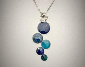 Sterling Blue Resin Cluster Necklace