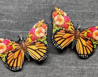 Butterfly Earrings / Laser Cut Wood Earrings / Floral Butterfly Earrings / Stainless Steel / Hypoallergenic / Boho Earrings / Insect Earring
