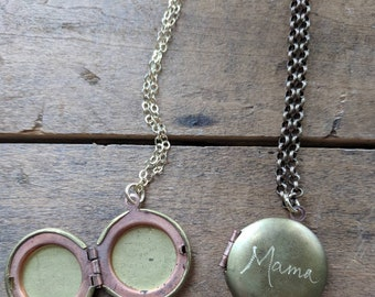 Mama locket necklace