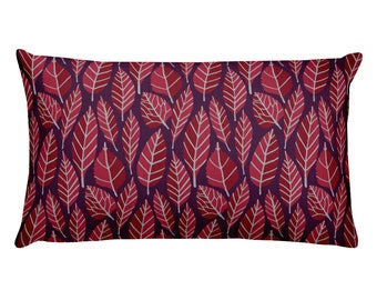 Beautiful trend-forward grey, wine and plum leaves nature natural hand-drawn pattern on gorgeous Rectangular Pillow Home Decor