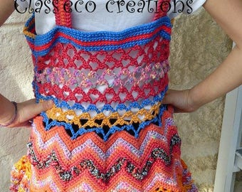 multicolored 6/8 years tunic made freeform crochet
