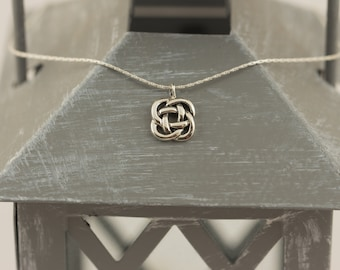 Sterling Silver Endless Knot Necklace Eternal Knot Necklace Symbolic Necklace Layering Necklace Thin Chain Necklace Minimalist Necklace