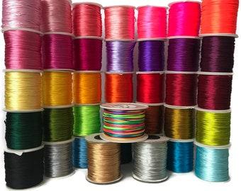 Satin Nylon Cord,  Threads, Colorful, 1mm