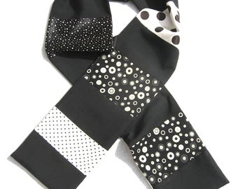 Polka Dot Scarf, Patchwork Scarf, Black and White, Pieced Scarf ,Upcycled, Dressy, Repurposed, OOAK Scarf, Luxury, Recycled, Silk Scarf