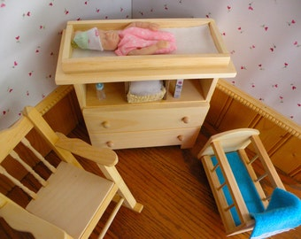 ON SALE:  Barbie Baby, Rocking Cradle, Rocker, Changing Table with Free Pampers, Bottle, and Powder