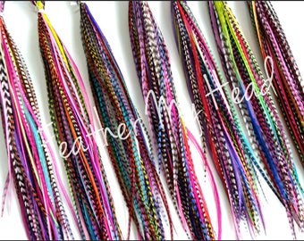 Feathers For Feather Extensions - Jewelry - Crafts - Variety Pack Of 100 Feathers Medium Lenfth 7 to 9 In (18 - 23 cm) Long - Bright Colors