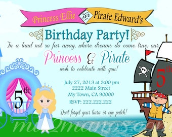 Pirate and Princess Invitation PRINTABLE INVITATIONS Twins Birthday Party Invitations Print at home