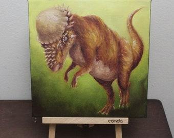 "10x10"" Original Oil Painting - Pachycephalosaurus Headbutting Dinosaur Wall Art"