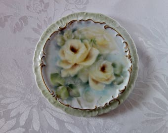 Antique tea tile trivet hot plate hand painted yellow roses signed victorian tea pot stand gold trim embossed porcelain