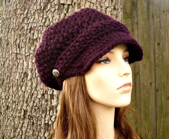 Crochet Hat Womens Hat Newsboy Hat - Crochet Newsboy Hat in Purple Eggplant Crochet Hat - Purple Hat Womens Accessories