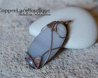 Wire Wrapped Pendant with Agate - Copper Pendant