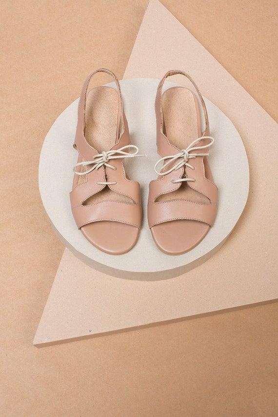 Sandals Flats Nude Flat Up Sandals Sandals Lace Sandals Summer Handmade Shoes Flat Shoes Leather 4qPYZW