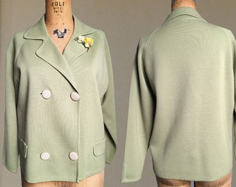 1960s sz 18 Green Boxy Double Breasted Sweater Knit from Bullocks - Made in Italy - Jackie Kennedy style