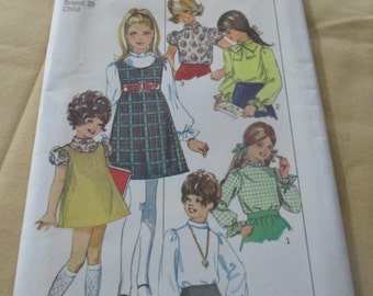 Simplicity #8374 1960's Child's And Girl's Jumper And Blouse  Size 6 Breast 25 Uncut Factory Folded