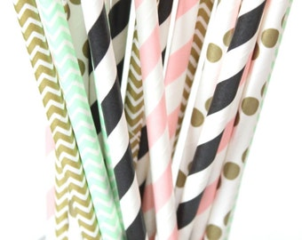 Pink, black, mint and gold straws-set of 25- baby showers, wedding straws,pink, black, mint and gold, hollywood parties, birthday parties