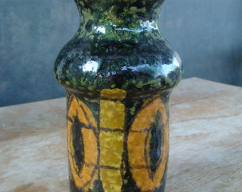 Vintage Mid Century Modern Bitossi Aldo Londi Raymor Italian Ceramic Art Pottery Vase Fat Lave And Hand Decorated Painted Glaze