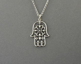Hamsa Hand Necklace - 925 Sterling Silver - hand of fatima necklace, amulet necklace, yoga jewelry for women