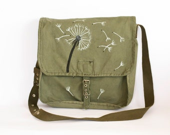 Vintage Upcycled Hand Painted Military Bag with Dandelion Flower, Green Cotton Canvas Messenger Bag