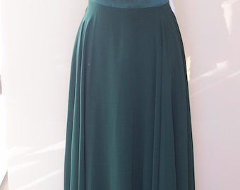 Forest green chiffon maxi formal evening bridesmaid prom dress (UK size 10)