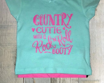 Country Cutie With A Rock N Roll Booty/Baby Girl/Country Girl/Baby Shower Gift/Short Sleeve Baby Shirt