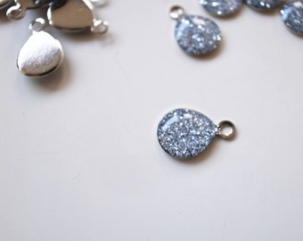 35 pcs silver glitters resin charm on steel silver tone base7x10mm