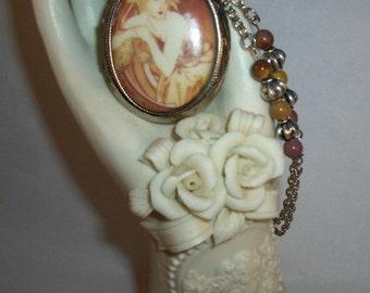 Alphonse Mucha Lady Locket Necklace with Moukaite Gemstone beads
