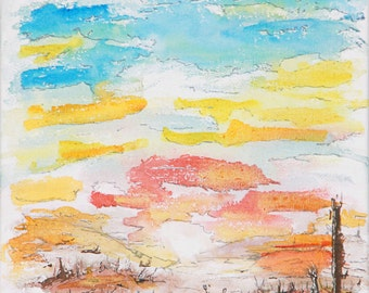 """Original Painting """"Aufgang"""" Watercolor on Canvas by plaggy. 11,6 x 11,6 inches / 30 x 30 cm"""