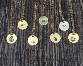 Dainty Gold Charm Necklace  Lotus Tree of Life Paisley Cross Mountains Hamsa Charm Necklace  Yoga Wicca Jewelry   22K Gold Jewelry