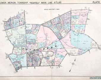 Bryn Mawr 1937 Original Main Line Property Atlas Map Of Lower Merion Township Montgomery County Pennsylvania Bryn Mawr College
